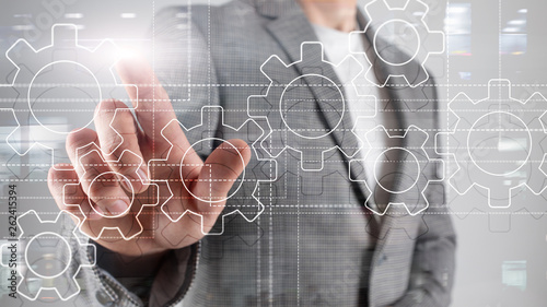 Fototapety, obrazy: Gears mechanism, digital transformation, data integration and digital technology concept.