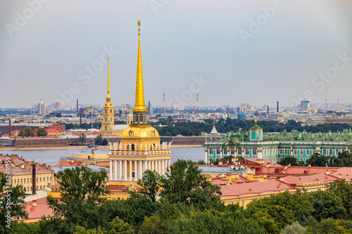 City skyline with the Admiralty spire, Peter and Paul Fortress, river Neva and H Wallpaper Mural