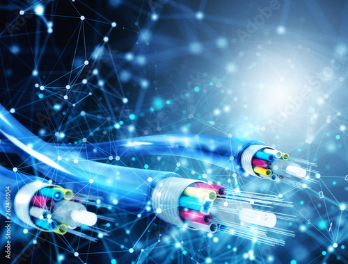 Internet connection with optical fiber. Concept of fast internet Wall mural