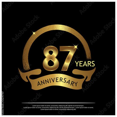 Fototapeta Eighty Seven Years Anniversary Golden Anniversary Template Design For Web Game Creative Poster Booklet Leaflet Flyer Magazine