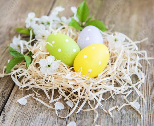 Keuken foto achterwand Eigen foto Nest with easter eggs