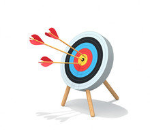 Archery Target With Arrows Isolated On White. Clipping Path Included