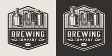 Vintage Brewery Monochrome Log...