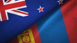 New Zealand and Mongolia two flags textile cloth, fabric texture
