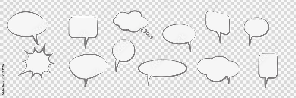 Fototapeta Comic Cartoon Speech Bubbles trasparent vector background