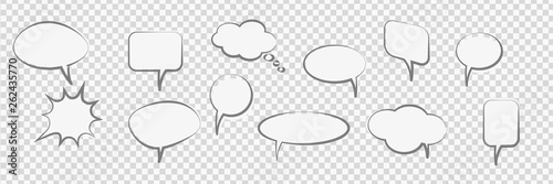 Cuadros en Lienzo Comic Cartoon Speech Bubbles trasparent vector background
