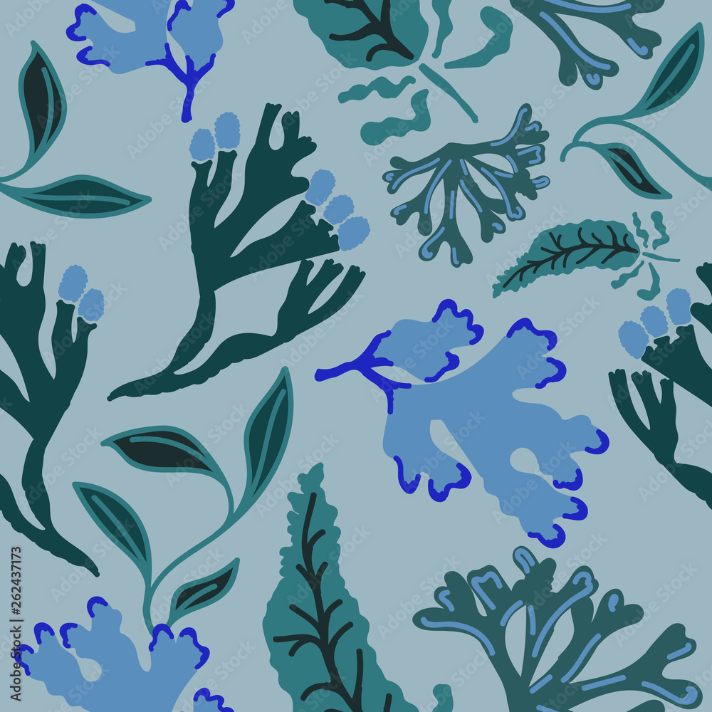 Seamless pattern with abstract seaweed. Hand drawn repeat background. Flat style illustration.