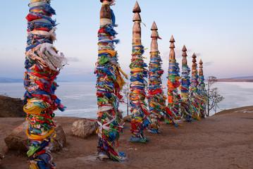 Ritual Ribbons for Wealth, Health, Love, Peace at Cape Burkhan, Khuzhir, Irkutskaya Oblast, Baikal, Siberia, Russia