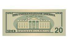 Twenty Dollars Bill. 20 US Dol...