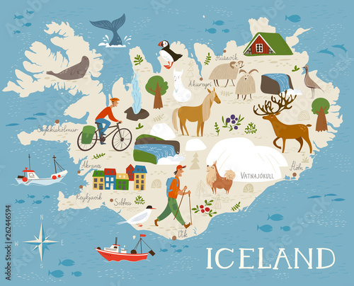Photo Vector high detailed vector map of Iceland with animals and landscapes