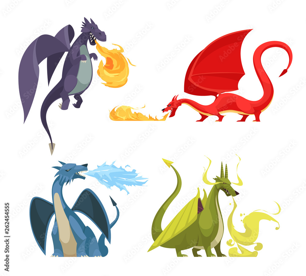 Fototapeta Dragons Fire Cartoon Concept