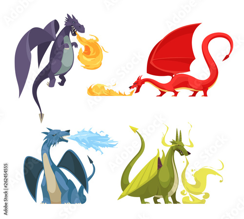 Dragons Fire Cartoon Concept Wall mural