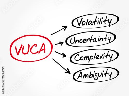 VUCA - Volatility, Uncertainty, Complexity, Ambiguity acronym, business concept Canvas Print