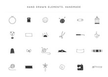 Vector Set Of Handmade Logo Elements. Hand Drawn Isolated Objects.