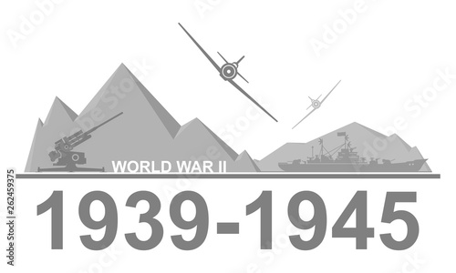 Fotografia  World War II 1939-1945 black and white vector illustration.
