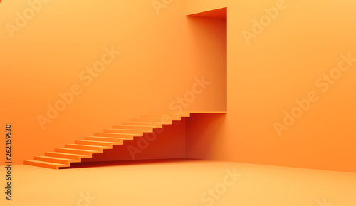 Empty interior with a staircase and door, 3D illustration. Wallpaper Mural