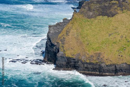 Les côtes abruptes et verdoyantes au bord de l'océan Canvas Print