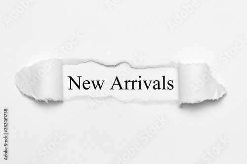 New Arrivals on white torn paper Wallpaper Mural