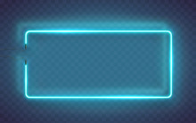 Neon Rectangle Lamp Wall Sign Isolated On Transparent Background. Vector Blue Power Glowing Bulb Banner, Light Frame For Your Design.