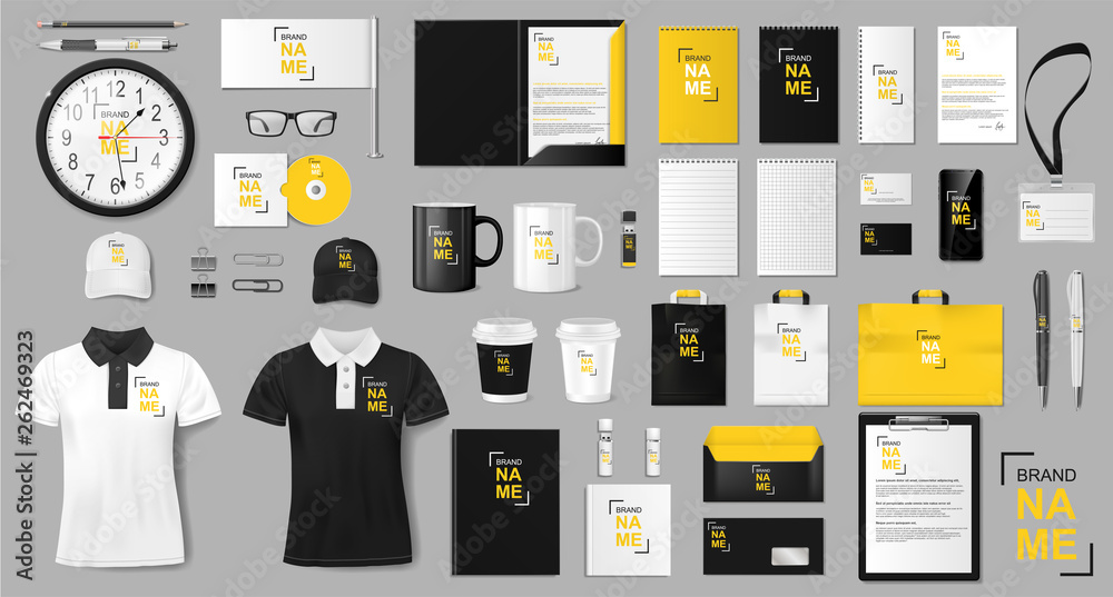 Fototapeta Corporate identity template design. Realistic golden and black Business Stationery mockup for shop. Stationery and uniform, paper pack, package for your brand. Vector illustration