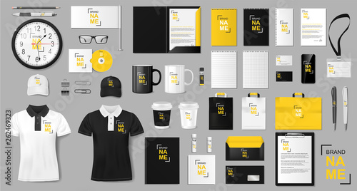 Obraz Corporate identity template design. Realistic golden and black Business Stationery mockup for shop. Stationery and uniform, paper pack, package for your brand. Vector illustration - fototapety do salonu
