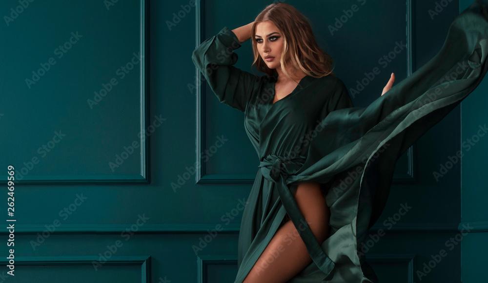 Fototapety, obrazy: Fashion lady in green maxi dress.