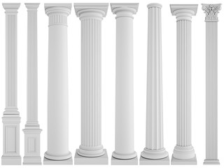 White columns on a white background. Isolated