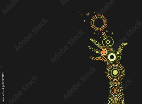 Fantasy painted hand with bright ethnic ornament of circles and dots Wallpaper Mural