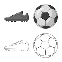 Vector Illustration Of Soccer And Gear Sign. Set Of Soccer And Tournament Vector Icon For Stock.
