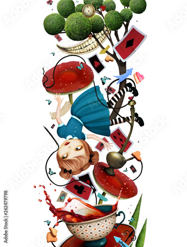 Concept fantasy isolated  illustration or poster with falling girl and various o Canvas Print