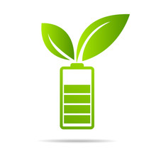 Green Leaves  Sprouting On Battery. Energy Based On Ecology Sveing Concept