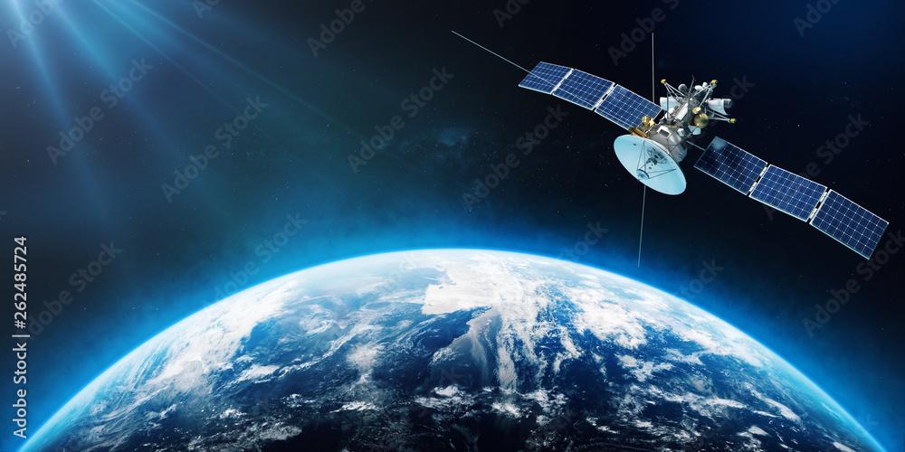 Fototapeta Space satellite orbiting the Earth. 3d rendering