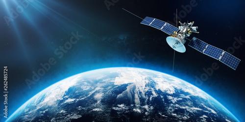 Fotografía Space satellite orbiting the Earth. 3d rendering