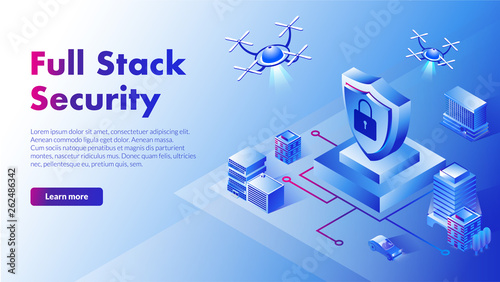 Fototapeta Isometric illustration full stack security with flying droids