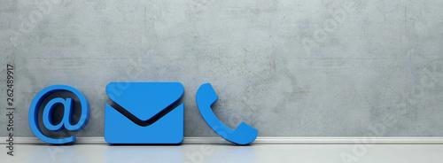 Fotografía Blaue Hotline und Service Kontakt Icons als Panorama
