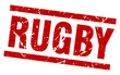 square grunge red rugby stamp