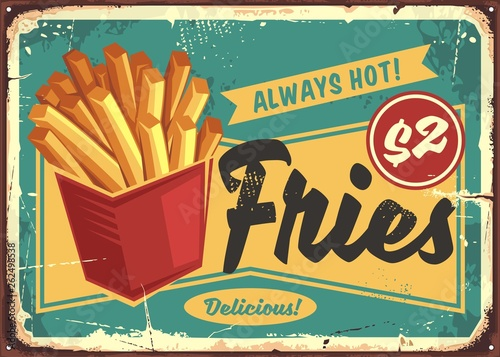 Plakat Rustykalny  french-fries-in-red-box-vintage-fast-food-sign-street-food-fries-retro-poster-design-junk