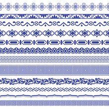 Chinese Porcelane Seamless Borders Vector Set.