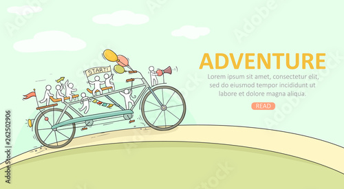 little people ride on bicycle Wallpaper Mural