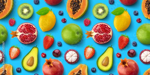 Fotografie, Tablou Seamless pattern of different fruits and berries, flat lay, top view, tropical a