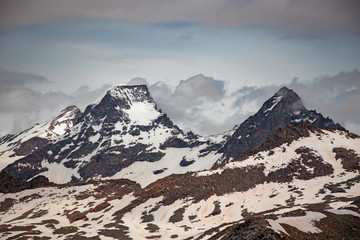 The Ciarforon peak and glaciers, in the Gran Paradiso park, Italy.