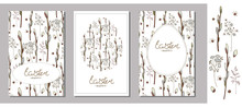 Set Of Easter Greeting Cards, Templates With Willow Branches, Herbs And Eggs. Willow Branches And Herbs Isolated On A White Background. Lettering. Happy Easter