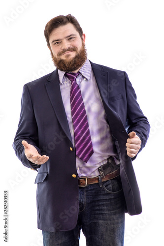 Fototapeta  Portrait of big handsome smiling bearded business man with gun in dark suit and