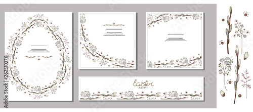 Fototapeta Set of Easter greeting cards, templates with willow branches, herbs