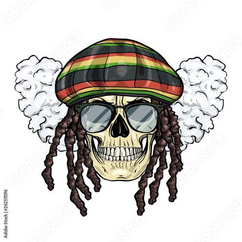 Hand drawn sketch, color skull with dreadlocks, rastaman hat, smoke and sunglass Wallpaper Mural