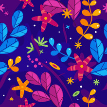 Floral Simplify Vector Pattern With Flowers And Plants In Different Colors On Violet Background, Blue And Purple Leaves With Orange Flowers Decoration In Saturated Shades