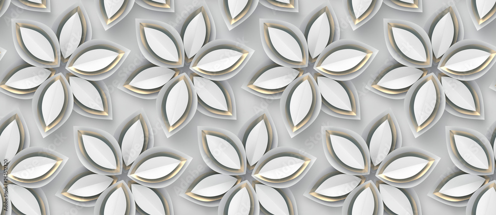 White paper flowers on a white background