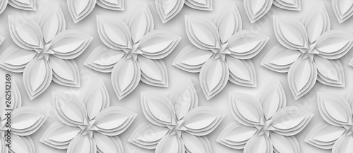 White paper flowers 3d background. - 262512369