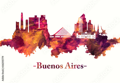 Photo Buenos Aires Argentina skyline in Red