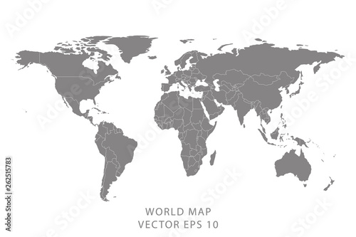 Obraz Detailed world map with borders of states. Isolated world map. Isolated on white background. Vector illustration. - fototapety do salonu